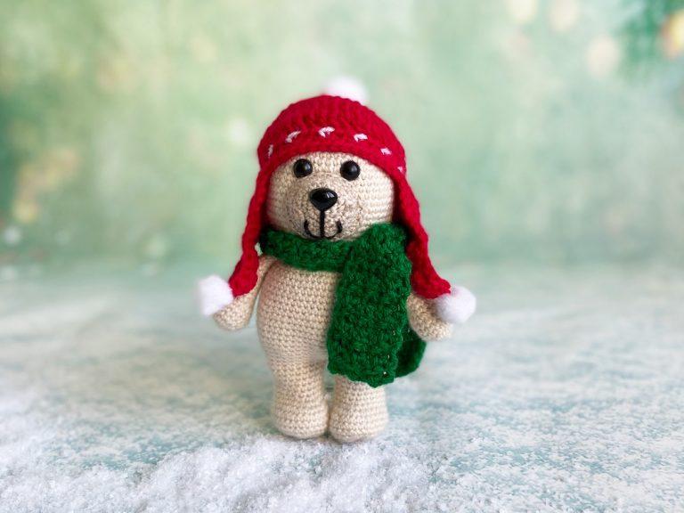Christmas bear crochet pattern book hat