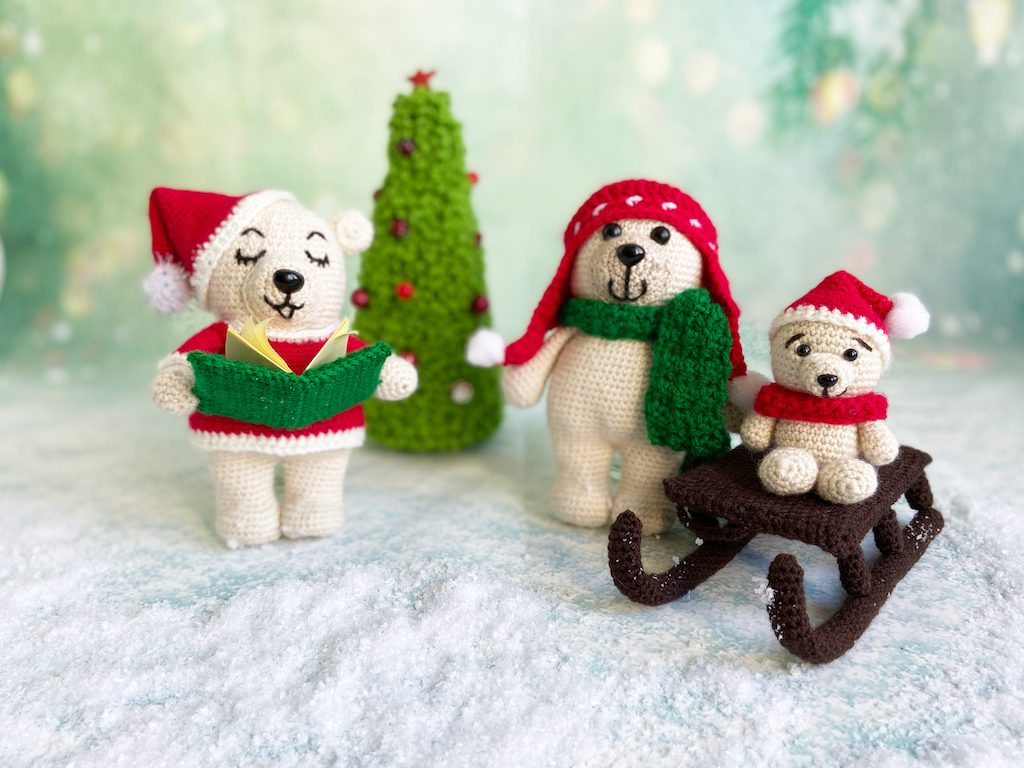 Christmas bears crochet pattern set